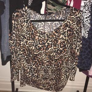Cheetah Print Long Sleeve Dressy Loose Fitting Top
